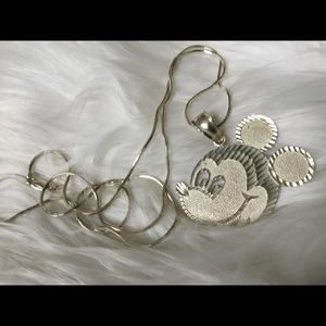 "Jewelry - Solid Sterling Silver Mickey Pendant & 30"" Chain!"
